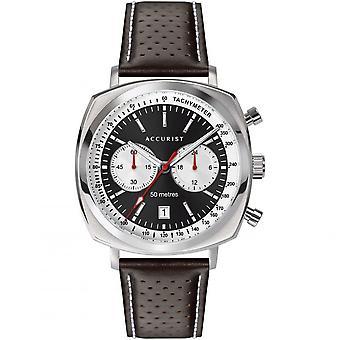 Accurist 7367 Retro Stříbrné & hnědé kožené pánské hodinky