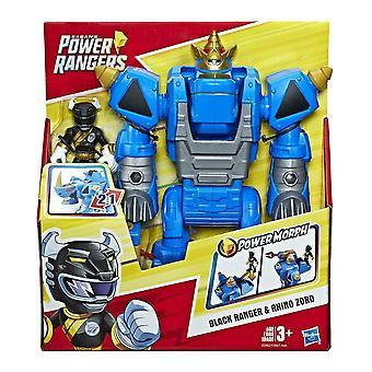 Playskool hjältar power rangers morphin zords svart ranger och noshörning zord