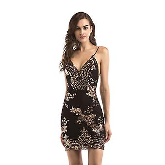Femme Sexy Backless Sparkling Dress Sequins Floral Deep V Neck