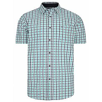 PETER GRIBBY Peter Gribby Mens Big Size Seersucker Cotton Check Short Sleeve Casual Shirt Navy Mint