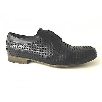 Men's Shoes Gas Nicola Barbato Derby Perforated Black Craft Us15nb04