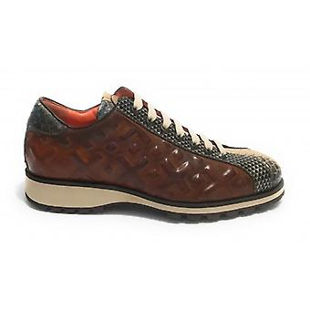Herrskor Harris Sneakers Fine Leather Ochre/ Blå/ Ja Brun/ Kubric Metal U17ha149