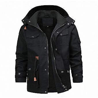 Men Outdoor Coat, Fleece Lining, Multi-pocket Winter Warm Jacket For Hunting,