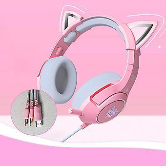 Roze Cat Ear Gaming Headset, Bedrade Gaming Headset met Microfoon en RGB Licht Afneembare Cat Ear Headphones 7.1 Stereo Headset, Geschikt voor PC / Laptop / Ipad / Smartphone-Roze