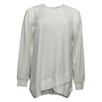 Denim & Co. Mulheres's Suéter Velour Pullover com a guarnição de costela branca A346271