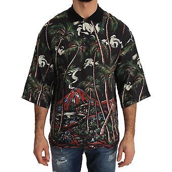 Dolce & Gabbana Svart vulkan Sicilien Kort ärm T-shirt