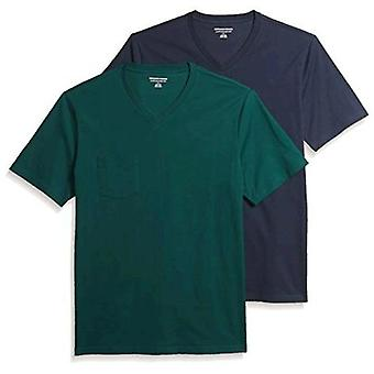 Essentials Men's 2-Pack Slim-Fit Lyhythihainen V-Neck Pocket T-paita