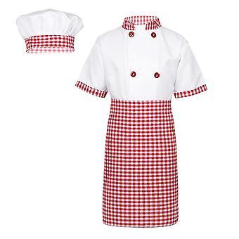 Tiaobug Unisex Šéfkuchár Uniform Deti Chef Bunda s zásterou Klobúk Kuchyňa Cook