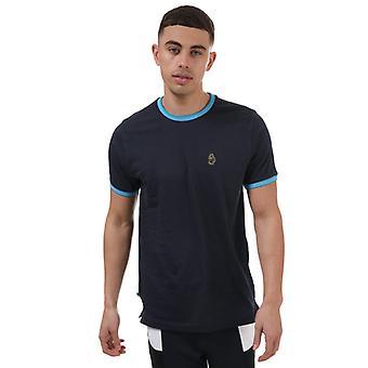 Men's Luke 1977 Looper Contrast Rib Neck T-Shirt in Blue
