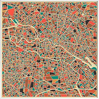 JUNIQE Print - Berlin Abstract Map - Berlin Plakat i Brown &Cream White
