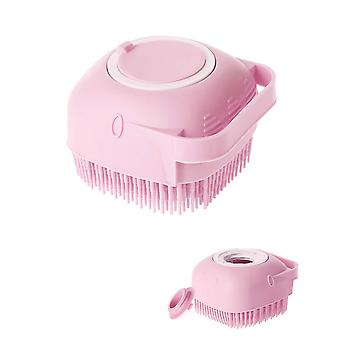 Pink silicone massage bath brush with soap dispenser handle body shower scrubber cai1033