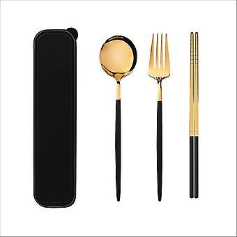 Stainless Steel Tableware Knife Fork Spoon Dinnerware Set With Box