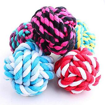 2Pcs pet puppy chew toys pets rope ball toys bite ball colorful squeak toys dog wool ball toys 3 size