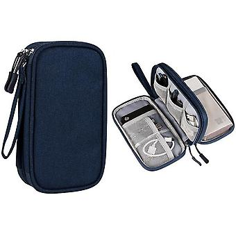 Waterproof Electronic Accessories Case Portable Double Layer Cable Storage Bag