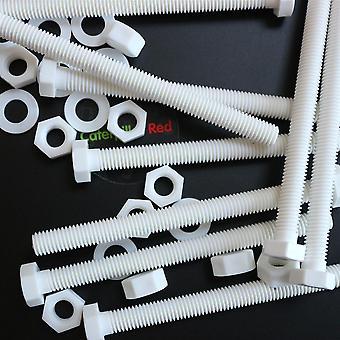 10x witte pan hoofd polypropyleen (PP) plastic moeren en bouten, ringen, M8 x 100mm