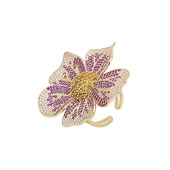 Pansy Flower Pink Ring Gold