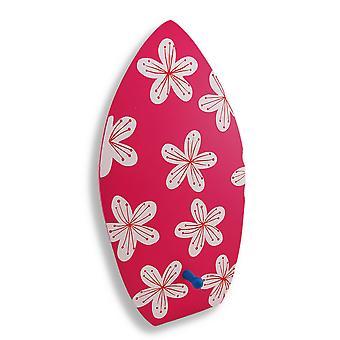 Drewniane deski surfingowej z kwiatów dekoracyjny ściana hak