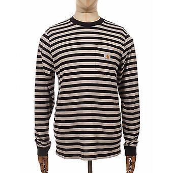 Carhartt KET Scotty Pocket Pitkähihainen T-paita - Musta raita