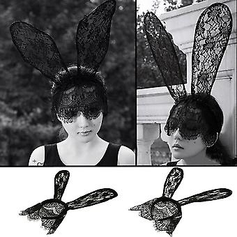 Costume Party Girl Fancy Lace Rabbit Bunny Long Ears Veils Headband Hairband