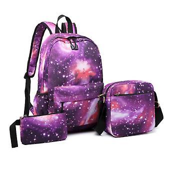 Homemiyn 3pcs الكون ستاري سكاي سلسلة المدرسة حقيبة حقيبة الكتف حقيبة للبنين بنات