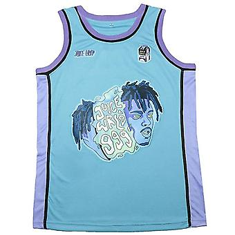 Men's 90s Theme Party Short Sleeve Globe Hip-hop Rap 999 Baby Blue Basketball Jersey