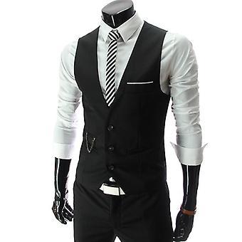 Men Peaky Blinder Business Waistcoat Slim Fit Suit Vest Jacket Coat