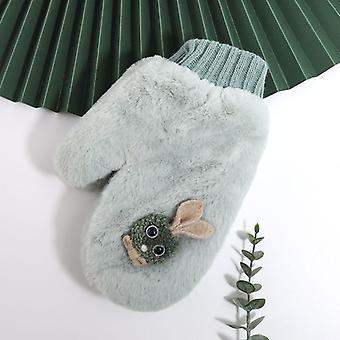 Creative Cartoon Cute Rabbit Neck Winter Fleece Lovers Outdoor Warm Gloves