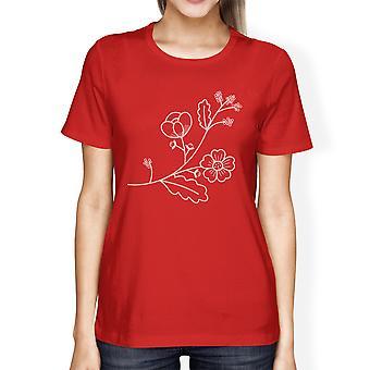 Bloem vrouwen rode korte mouw grafische T Shirt voor Flower Lovers