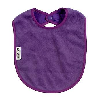 Silly Billyz Plain Large Baby Fleece Feeding Bib with Snap Button Closure in Purple