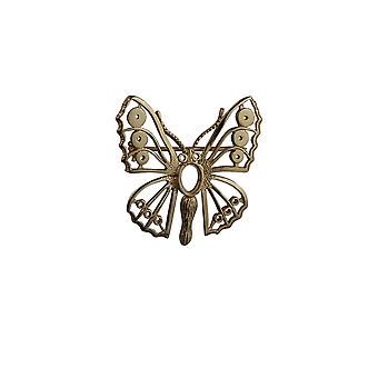 9ct Gold 32x31mm Butterfly Brooch