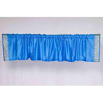 Blue - Rod Pocket Top It Off handmade Sari Valance - Pair