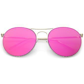 Oversize Metal Aviator Okulary przeciwsłoneczne podwójne nosa okrągły kolor dublowanego płaskie soczewki 65mm