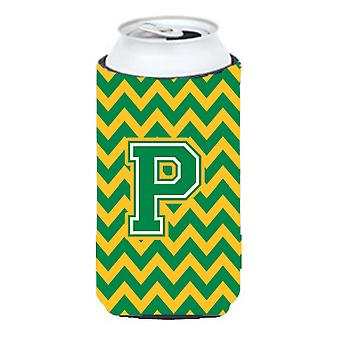 Letter P Chevron Green and Gold Tall Boy Beverage Insulator Hugger