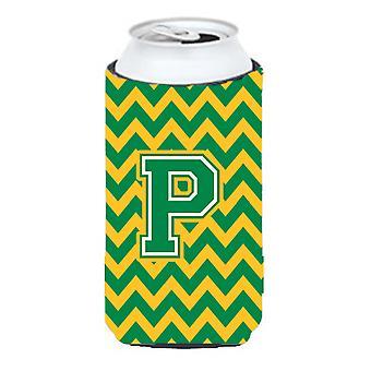 Letter P Chevron groen en goud hoog Boy drank isolator Hugger
