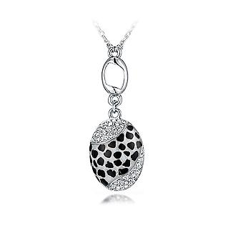 Abalone Leopard pendant adorned with Rhodium 1826-plated white Swarovski crystals