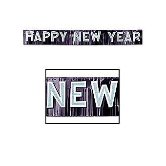 Metallic Happy New Year Banner - Black & Silver