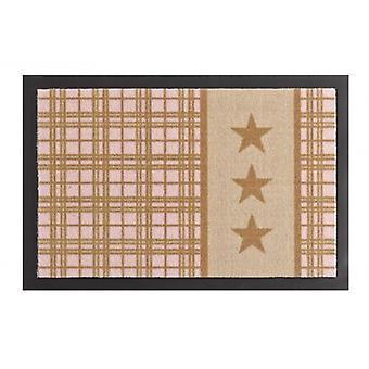Doormat dirt trapping pad star Plaid beige pink 40 x 60 cm