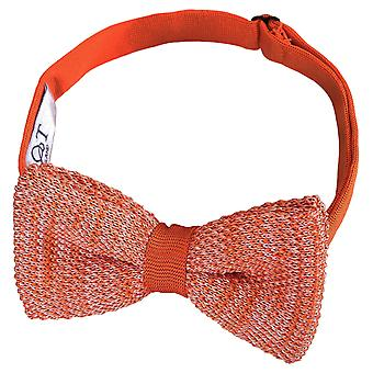 Orange Melange Plain Speckled Knitted Pre-Tied Bow Tie