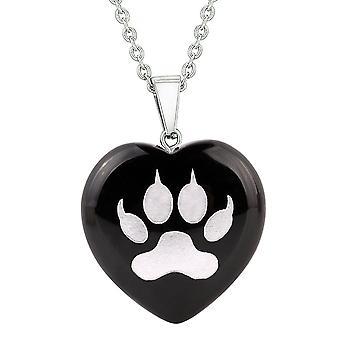 Amulette Wolf patte Courage pouvoirs magiques Protection énergie Agate Noir gonflés coeur Collier pendentif