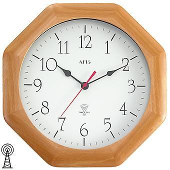 Radio controlled wall clock clock radio clock octagonal wood mineral glass AMS 27 x 27 cm