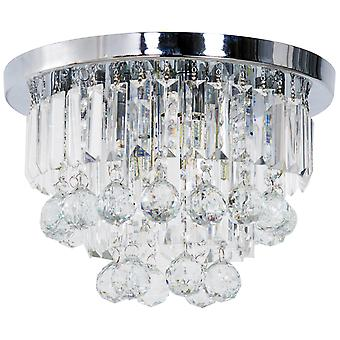 HOMCOM Round Crystal Lamp Chandelier Ceiling Mount Fixture For Living Room Dining Room Hallway Modern (7 Light)