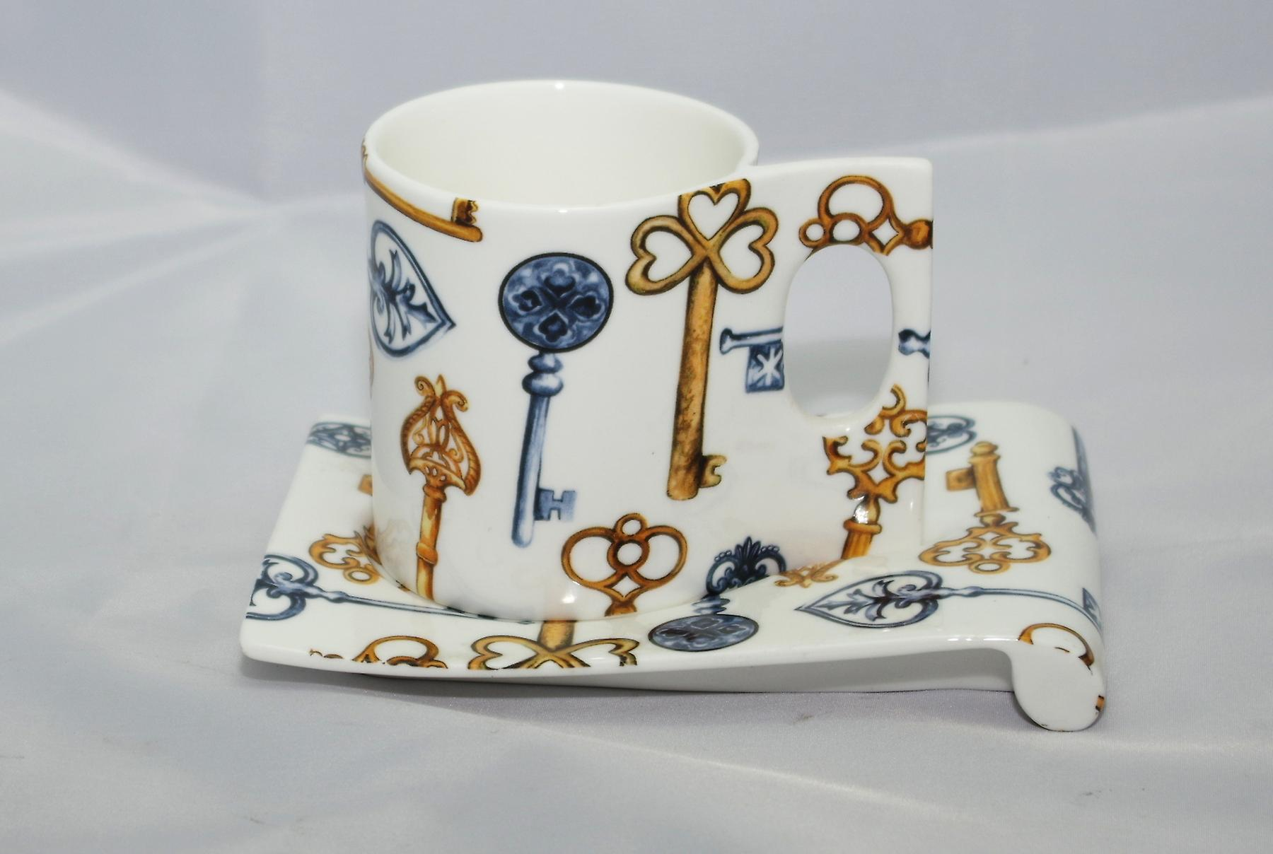 Dutch Bone China Coffeecup en schotel sleutels