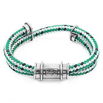 Anchor & Crew Green Dash Larne Silver And Rope Bracelet