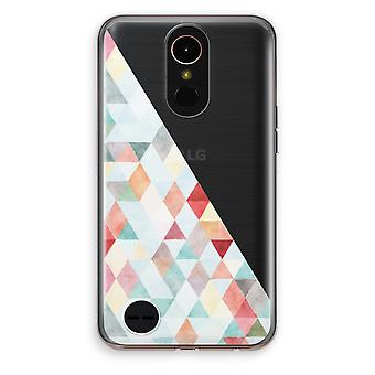 LG K10 (2017) transparante Case (Soft) - gekleurde driehoeken pastel