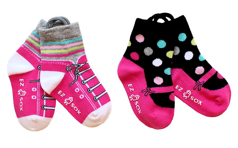 Girls Mary Jane & Sneakers EZ SOX Socks - 2 Pairs, 2 - 3 Years