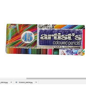 Lápis de cor do Grafix artista Pack de 45 com apresentação lata de Metal