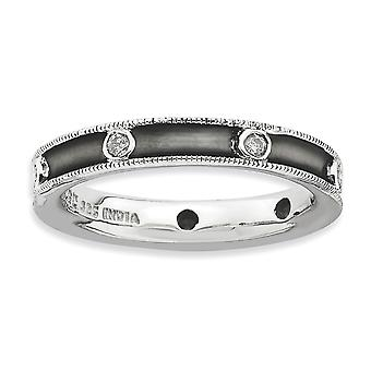 3.5mm 925 Sterling Silver Bezel Stackable Expressions Polished Diamond Ring Jewelry Gifts for Women - Ring Size: 5 to 10