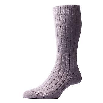 Pantherella Waddington Rib Luxury Cashmere Socks - Flannel Grey