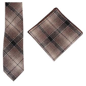 Knightsbridge Neckwear Large Check Tie and Pocket Square Set - Black/Beige