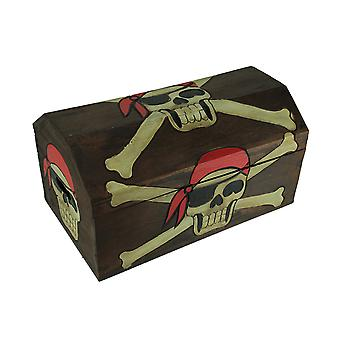 19 Zoll Long Wooden Pirate Skull Treasure Chest Chest Storage Box